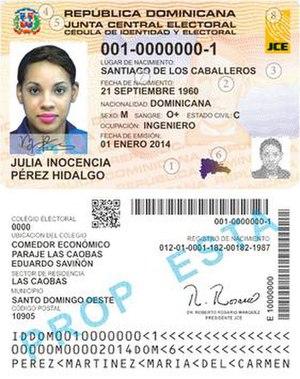 Cédula de Identidad y Electoral - Dominican identity card