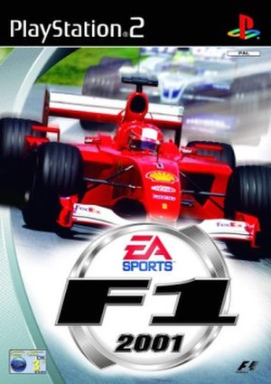EA Sports F1 2001 - PAL region Cover art for PS2, featuring Michael Schumacher in the Ferrari leading brother Ralf Schumacher in the Williams