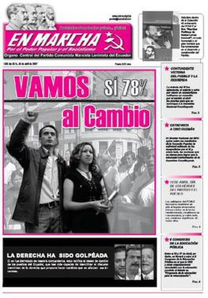 """Marxist–Leninist Communist Party of Ecuador - A 2007 issue of En Marcha. The header contains the heads of Marx, Engels, Lenin and Stalin. Next to them is the slogan """"Workers of all countries, unite!"""", written in Spanish."""