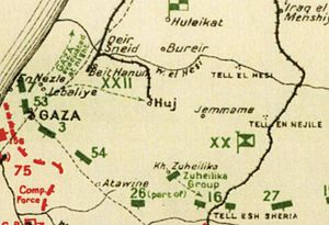 Capture of Wadi el Hesi - Falls Sketch map 6 shows Ottoman defences from Gaza to Tel el Sheria at 18:00 on 6 November with the evacuation of Gaza indicated from En Nezle and Jebaliye towards    Huj,   Beit Hanun and Wadi el Hesi, and the Ottoman Palestine railway. Also shows Atawineh, Kh Zuheilika and Jemmame.
