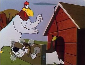 Foghorn Leghorn - Foghorn Leghorn and George P. Dog (Barnyard Dog) in The Egg-Cited Rooster (1952).