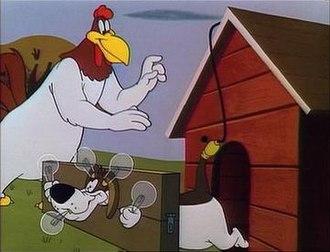 Foghorn Leghorn - Foghorn Leghorn and George P. Dog (Barnyard Dawg) in The Egg-Cited Rooster (1952).