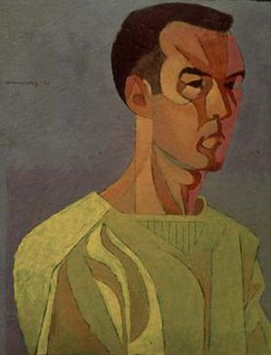 Frederick Hammersley - Self-Portrait, 1950 Oil on CB panel; 23 x 18 in.