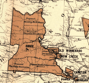Great Sioux Reservation. 1888 Map showing the ...