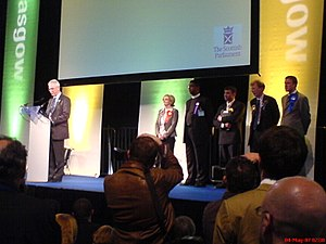 Christian Party (UK) - The Rev Hargreaves (second from left in candidates line-up) and other candidates who contested the Glasgow Baillieston constituency in the Scottish Parliament election, 2007.