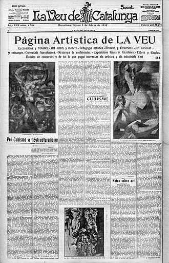 Henri Le Fauconnier - Paintings by Henri Le Fauconnier, 1910-11, L'Abondance, Haags Gemeentemuseum; Jean Metzinger, 1911, Le goûter (Tea Time), Philadelphia Museum of Art; Robert Delaunay, 1910-11, La Tour Eiffel. Published in La Veu de Catalunya, 1 February 1912