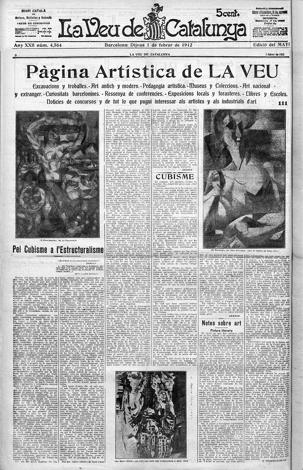 Henri Le Fauconnier (L'Abondance), Jean Metzinger, (Le Goûter), Robert Delaunay (La Tour Eiffel), La Veu de Catalunya, 1 February 1912