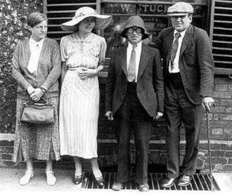 Stanley Spencer - Dorothy Hepworth (far left), Preece and Spencer (wearing spectacles) at his wedding to Preece