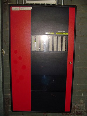Fire alarm system - A Honeywell DeltaNet FS90 fire alarm control panel