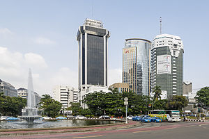 Indosat - Headquarters of Indosat Ooredoo in Jakarta (black tower in the middle)