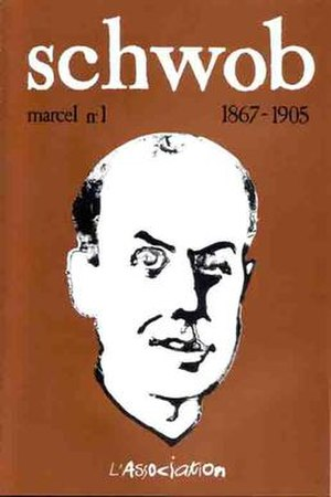Marcel Schwob - Interior cover of the comics anthology Lapin, issue 16 (July 1997), featuring a portrait of Schwob by Emmanuel Guibert.