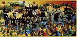 Lego Castle - 1989 leaflet depicting the Forestmen besieging the castles of the Black Knights and Black Falcons.