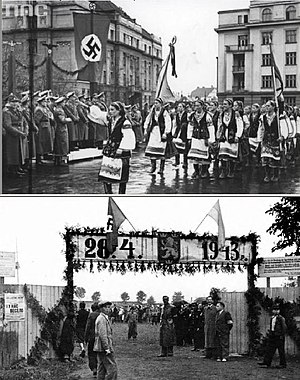 14th Waffen Grenadier Division of the SS (1st Galician) - Distrikts Galizien Spring 1943. Celebrations dedicated to the creation of the SS-Freiwilligen-Schützen-Division «Galizien». Regional recruitment center