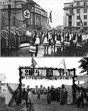 14th Waffen Grenadier Division of the SS (1st Galician) - Distrikts Galizien Spring 1943. Celebrations dedicated to the creation of the SS-Freiwilligen-Schützen-Division «Galizien». Regional recruitment center