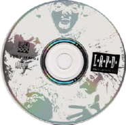 "A Compact disc with ""L.A.P.D."" written on it, and is a silver/white CD."