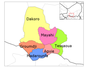 Aguie Department location in the region