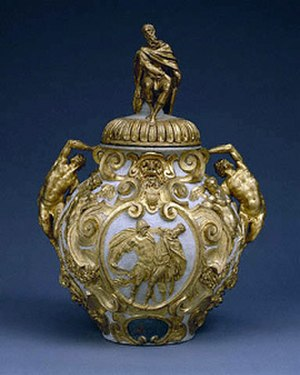 Mithridate - Elaborately gilded drug jar for storing mithridate. By Annibale Fontana, about 1580–90. Courtesy, J. Paul Getty Museum.