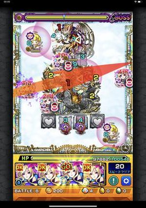 Monster Strike - A game of Monster Strike where the player prepares to launch one of their monsters at enemies on the field.