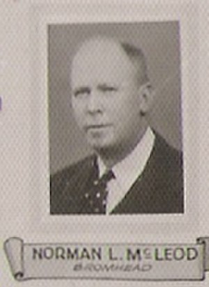 Norman Leslie McLeod - Portrait taken from 1934 Province of Saskatchewan 8th legislative assembly