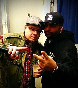 Crypt the Warchild - Crypt the Warchild (right) pictured with Vinnie Paz (left), 2014.