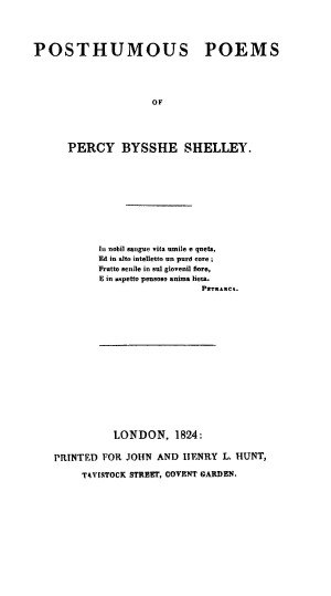 Julian and Maddalo - Posthumous Poems of Percy Bysshe Shelley