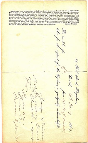George Müller - Receipt form issued by George Müller