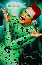 "Canadian actor Jim Carrey as the Riddler in the 1995 film ""Batman Forever""."