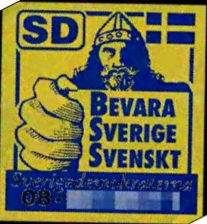 Bevara Sverige Svenskt - Early campaign sticker of the Sweden Democrats using the Keep Sweden Swedish slogan.