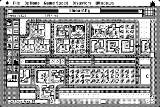 SimCity (1989 video game) - SimCity on a monochrome Mac. The game was ordinarily played in colour with a similar interface.
