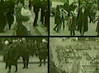 Sumgait pogrom - Military police escorting Armenian civilians out of the town.