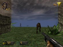 View of a jungle swallowed by fog; a scaled dinosaur charges out of the gloom towards the player, whose weapon (a shotgun) is visible in the corner of the screen. Around the edge of the frame are two-dimensional icons relaying game information.
