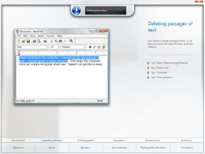 The tutorial for Windows Speech Recognition in Windows Vista depicting the selection of text in WordPad for deletion.
