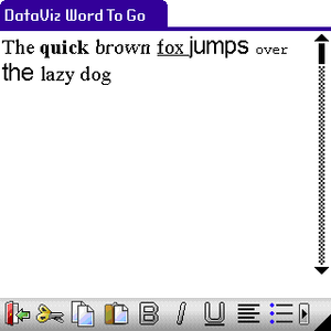 Documents To Go - WordToGo handheld application