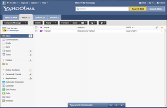 Yahoo! Mail - Screenshot of the 2011 version of Yahoo! Mail
