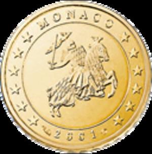 Monégasque euro coins - Image: 10 eurocent mo series 1