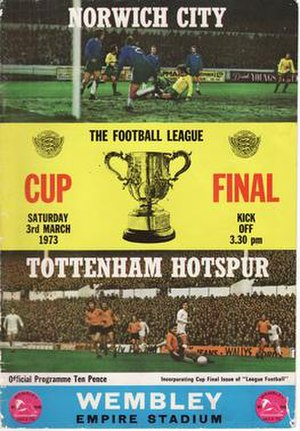 1973 Football League Cup Final - Match programme cover