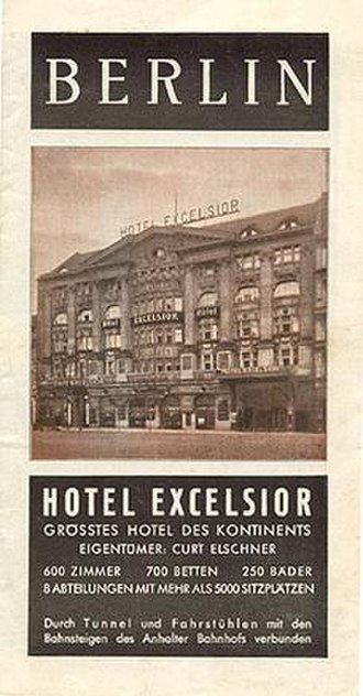 "Hotel Excelsior - Travel brochure for the ""Hotel Excelsior - Grösstes Hotel des Kontinents,"" circa 1929."