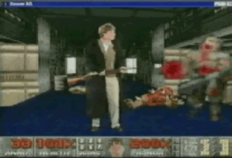 Doom (1993 video game) - To promote Windows 95, Bill Gates, aware of the video game's popularity, showcased a video presentation while digitally superimposed into Doom