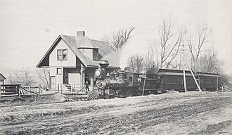 Norwood, Ohio - A passenger train at the Norwood Park Station in 1887. The station was located on the southwest corner of Lafayette Avenue and Smith Road, the location of today's Surrey Square parking lot.