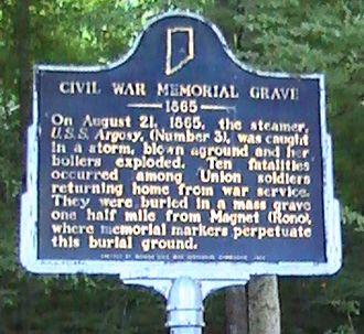 Magnet, Indiana - The Civil War Memorial Grave historical marker near Magnet.