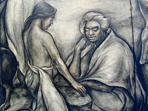 Juliette May Fraser - Detail of charcoal and sanguine mural, 1939