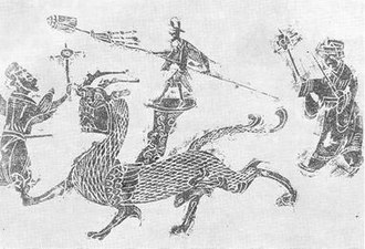Dragon dance - Han Dynasty stone relief engraving showing a form of Dragon Dance.