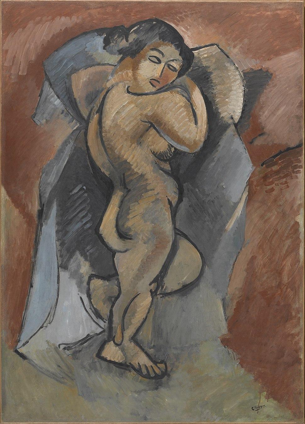 Georges Braque, 1908, Baigneuse (Le Grand Nu, Large Nude), oil on canvas, 140 × 100 cm, Musée National d'Art Moderne, Centre Pompidou, Paris