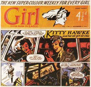 """Girl (UK comics) - The cover of Girl issue 1, featuring """"Kitty Hawke and her All-Girl Air Crew"""", 1951"""