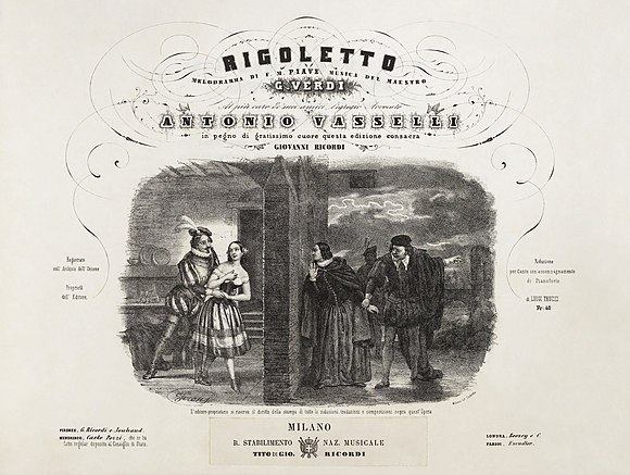 """Bella figlia dell'amore"" scene, depicted by Roberto Focosi in an early edition of the vocal score Giuseppe Verdi, Rigoletto, Vocal score illustration by Roberto Focosi - Restoration.jpg"