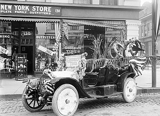 Goodrich Corporation - Goodrich dealer's decorated car in Salt Lake City c. 1913