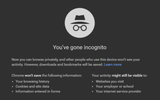 Google Chrome - Google Chrome Incognito mode message