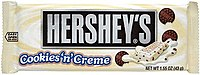 A plastic-wrapped Hershey's Cookies 'n' Creme bar