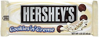 Hershey's Cookies 'n' Creme - A plastic-wrapped Hershey's Cookies 'n' Creme bar