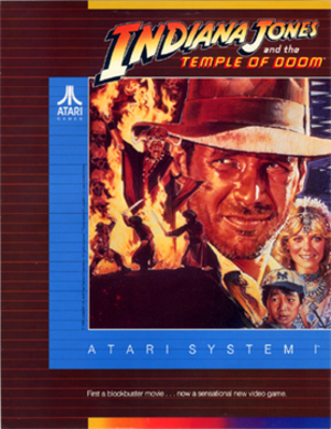 Indiana Jones and the Temple of Doom (1985 video game) - North American arcade flyer of Indiana Jones and the Temple of Doom.